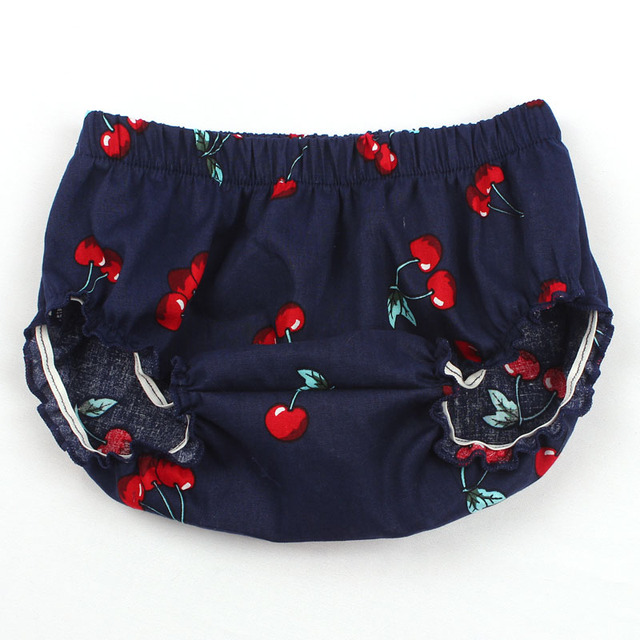Fashion Baby Girl Cotton Cherry Pattern Ruffle Diaper Cover Baby Bloomers Toddler Cotton Shorts Clothes 3 Colors YC039