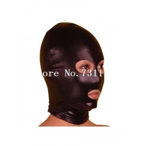 Горячая Хэллоуин забавная блестящая металлическая толстовка с капюшоном «zentai» унисекс маска - Цвет: Open Eye and Mouth