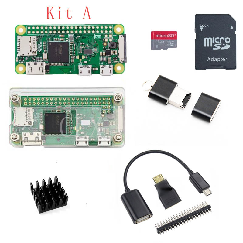 Raspberry Pi Zero W Starter Kit Acrylic Case 2 5A Power Supply 16 32 GB SD