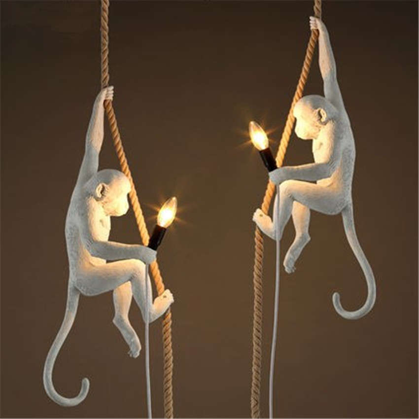 Nordic Creative Art Monkey Pendant Lamp Loft Style Handmade Resin Monkey Droplight For Home Lighting Bar Cafe Hanging Lamp Deco nordic style loft hanging lamp creative restaurant pendant light contracted metal pendant lights bar art deco lighting