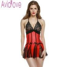 Avidlove Women Sexy Lingerie Nightwear Lace Sheer Sleepwear Erotic Lingerie Babydolls Sex Costumes Dress Nightgown + G-String U2