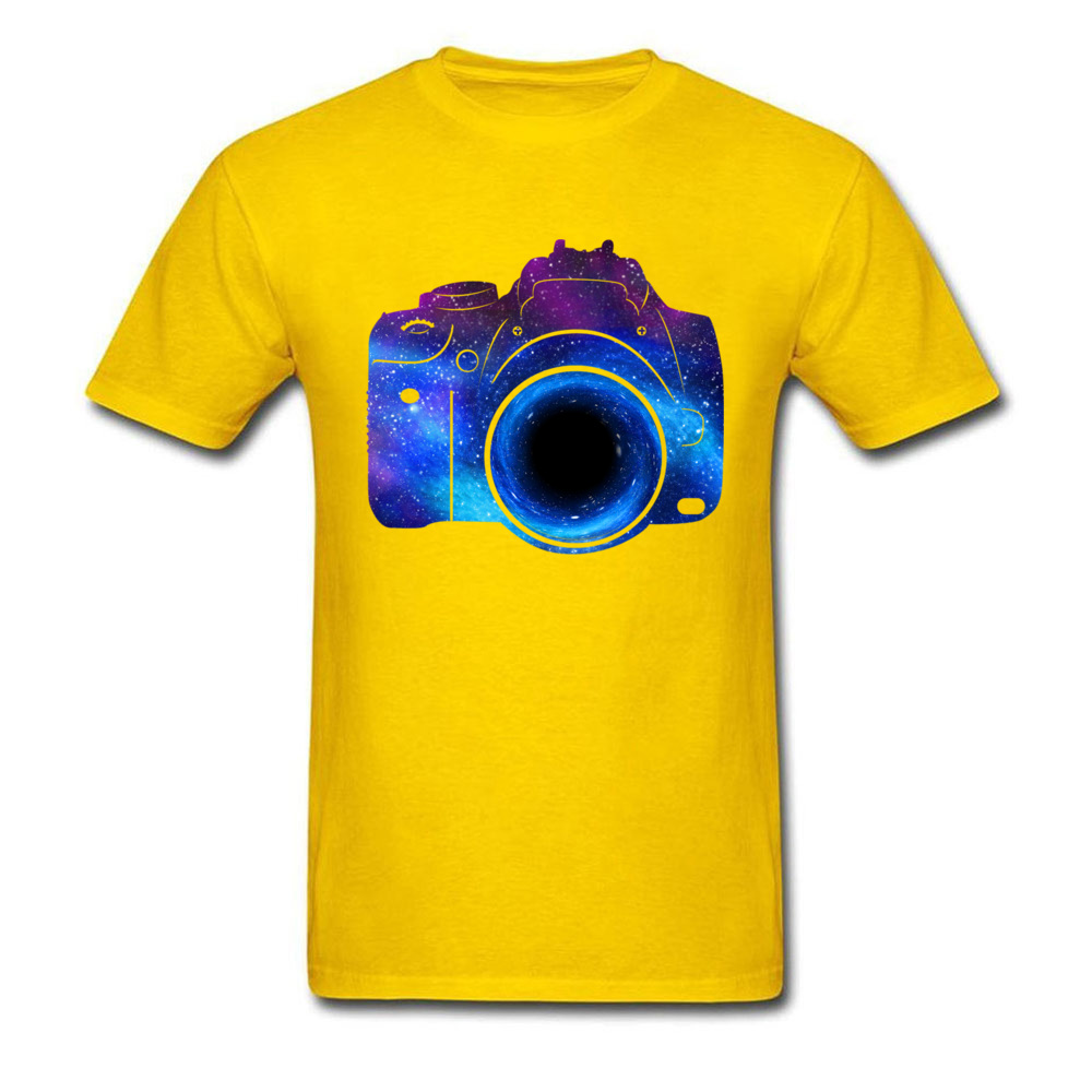 Free Coupons Men Yellow Tshirts A Black Hole Captures Everything Galaxy Camera Printed T Shirt Oversized Streetwear Cotton Tees image
