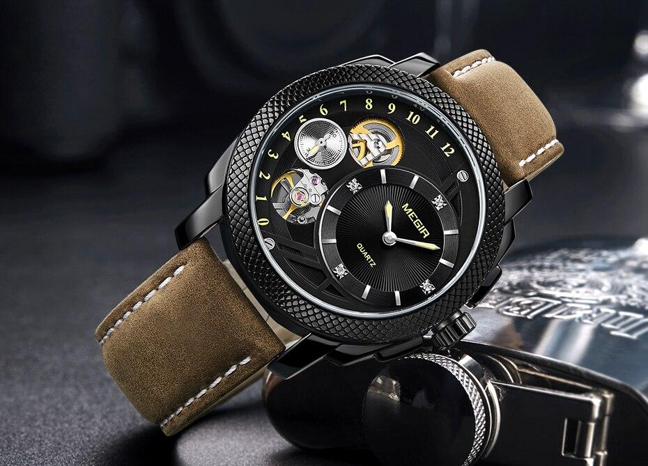 HTB1q8kKXZfrK1Rjy1Xdq6yemFXai MEGIR Luxury Quartz Watches Stainless Steel Military Wrist Watch