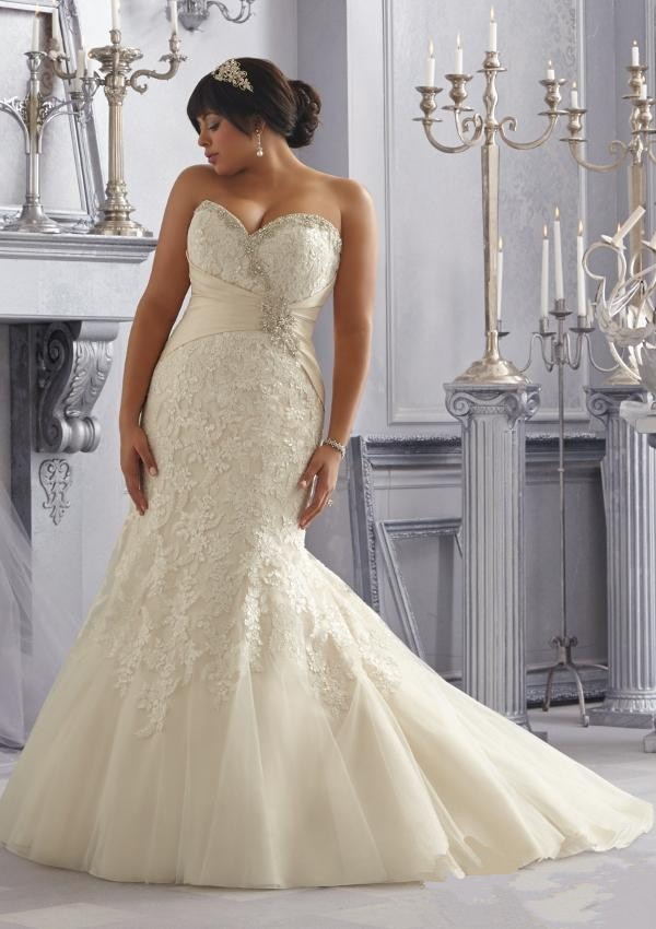 New Arrival Plus Size Mermaid Wedding Dresses 2014 size 28W Court Train Sweetheart Beading Bridal Gowns vestidos de noivas