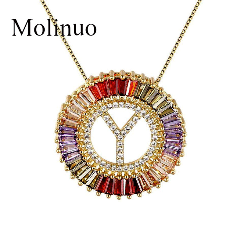 Molinuo New Arrival Gold Color Micro Pave Rainbow CZ Cubic Zirconia A-Z Initials Letter Pendant Necklaces For Women Fine Jewelry