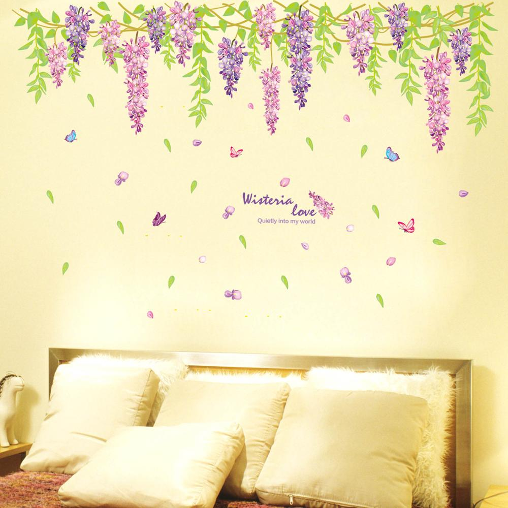 Wisteria flower wall stickers romantic wedding room living room ...