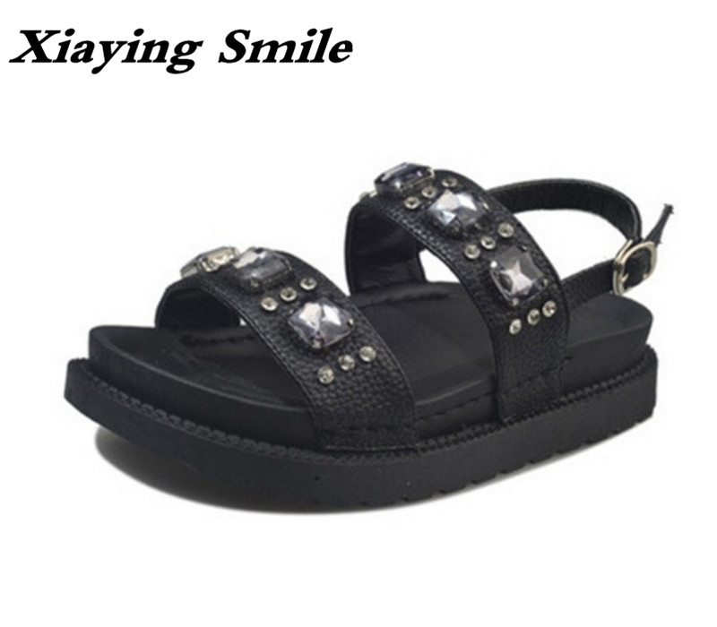 Xiaying Smile Woman Sandals Flats Women Shoes Soft Thick Sole Buckle Strap Sewing Fashion Casual Bling Crystal Black White Shoes xiaying smile summer woman sandals square cover heel woman pumps buckle strap fashion casual flower flock student women shoes