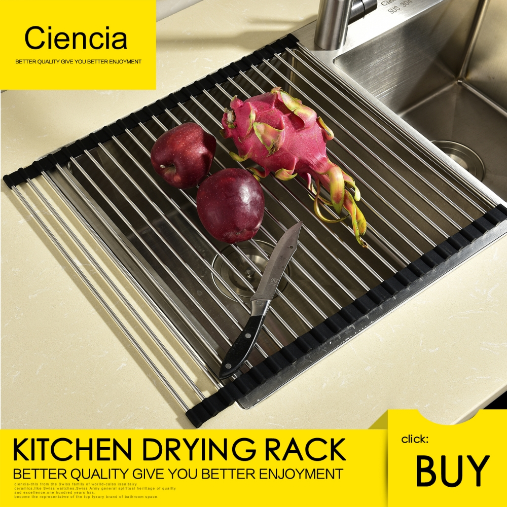 Free Shipping Stainless Steel Roll Up Dish Drying Rack Foldable Kitchen Drainer Rack Over the Sink Dish Drying Rack Black цена