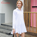 Quintina New Fashion Women Dress Turn-down Collar Mini Dress Vestidos Office Dress Women Clothing Long Sleeve Casual Dress