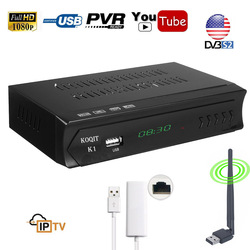 IPTV KOQIT m3u DVB-S2 Caixa Combo HD Sintonizador de tv Digital Receptor de Satélite 1080 P Prato Receptor USB (RJ45 Lan wi-fi) youtube Jogador