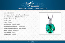JewelryPalace Cushion 3.4ct Created Green Emerald Solitaire Pendant 925 Sterling Silver Fine Jewlery Without Chain