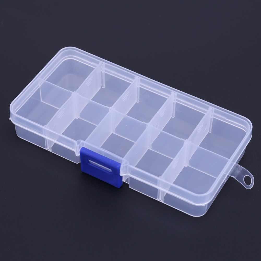 جديد 10 مقصورات الحقيبة صندوق تخزين شفافة الصيد إغراء مربع صندوق صيد ملعقة هوك إغراء معالجة مربع الأسماك التبعي مربع