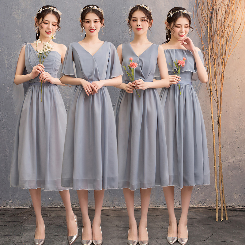 Chiffon Bridesmaid Junior Dresses Wedding Guest A-Line Tea-Length Sexy Plus Size Dress Prom Azul Royal Tulle Bandage Vestidos