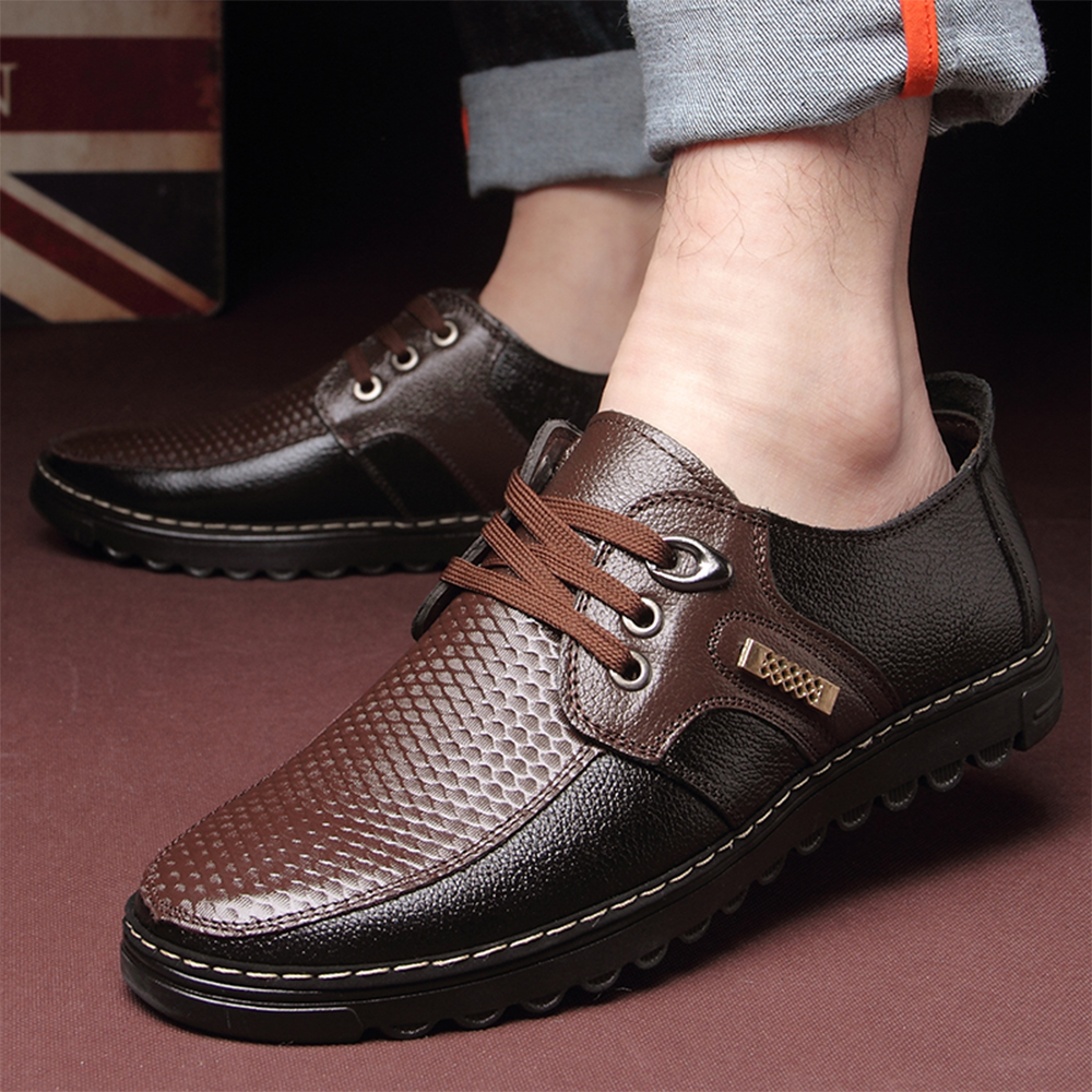 2018 Genuine leather men's casual shoes Moccasins lace-up soft bottom - Men's Shoes - Photo 6