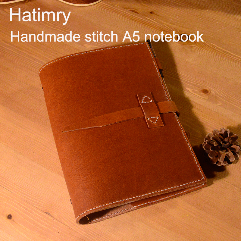 Hatimry A5 genuine leather handmade stitch A5 size notebook for travelers book school supplies jorunal leather notebook