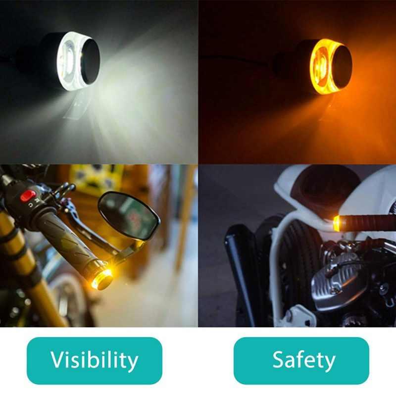 2 uds. Manillar de motocicleta LED Universal Luz de señal de giro amarillo 33mm indicador intermitente manillar intermitente lámpara indicador lateral