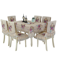 European Style Tablecloth and Chair Covers Set Modern Minimalist Household Tablecloth Chair Cover Cushion Set Tafelkleed