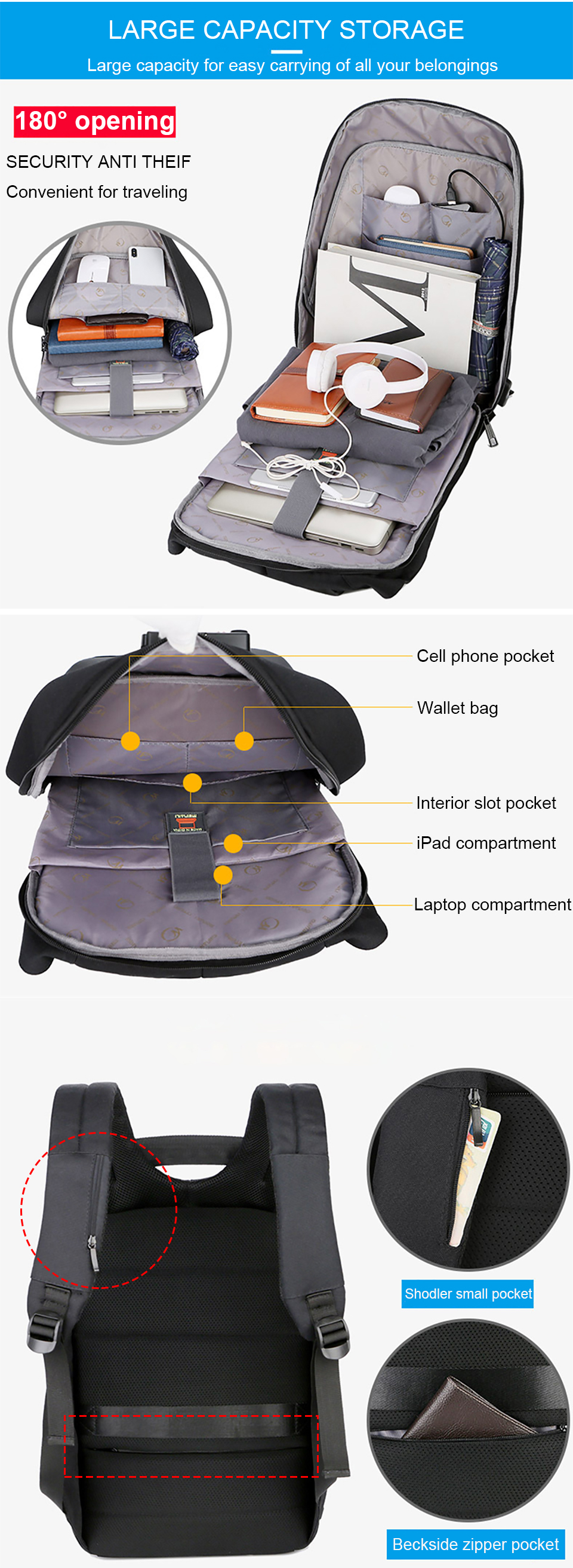 2 Anti Theft Backpacks Man Bag Large Capacity 15.6 Inch Laptop Notebook Backpack Business USB Back Pack Travel luggage Backpacking