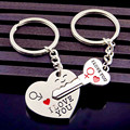 Fashion Couple Keychain Silver Tone Love Heart Key Chains Lock Rings Women Bag Jewelry Wedding Trinket Female Valentine Day Gift
