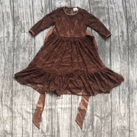 New Baby Girls Fall Winter Children Clothes Brown Solid Color Soft Lace Princess Belt Dress Ruffle