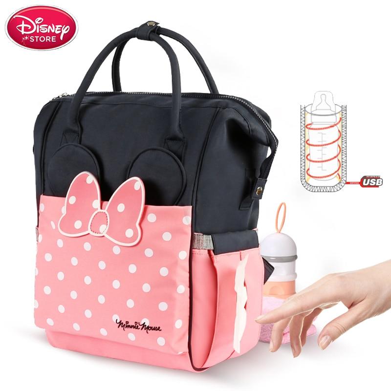 Disney Mickey Minnie Diaper Bag Waterproof Stroller Nappy Bag USB Heating Bottle Warmer Mummy Baby Bags