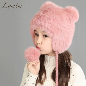 Image 3 - New Lovely Bear Ear Skullies Beanies Genuine Rex Rabbit Fur Fabric Knitted Hats Winter Warm Soft Solid Caps Snow Women Hat