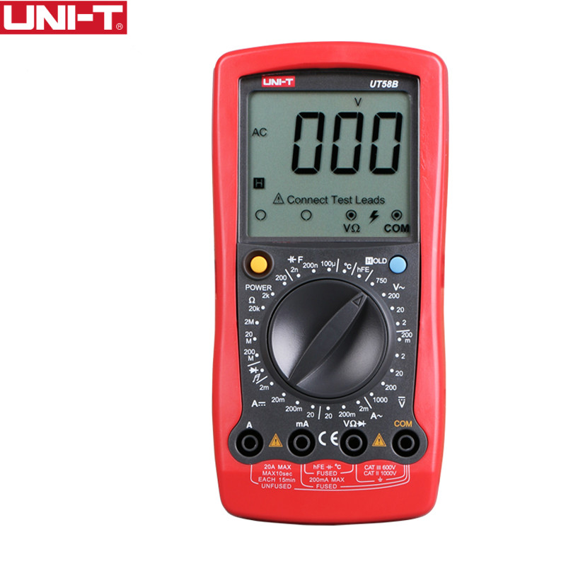 UNI T UT58B General Digital Multimeters Full Icon LCD Display Capacitance Ohm Temperature Diode Transistor AC
