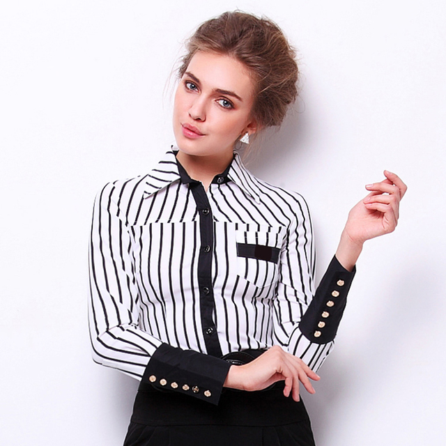35a365612 Women Formal Clothes Black Red Striped Shirt Office Body Shirt Long Sleeve  Bodysuit Turn Down Collar