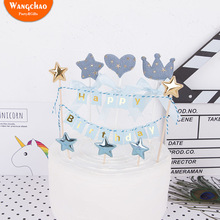 Newest Happy Birthday Cake Topper Mini Star Crown Heart Cupcake Toppers Baby Shower Girls Boys Kids Party Favors Decoration