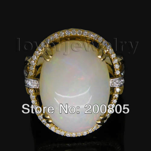 Hot Vintage Oval 13x17mm Solid 18Kt Yellow Gold Diamond Opal Ring Fine Jewelry for Women Christmas Gift SR318
