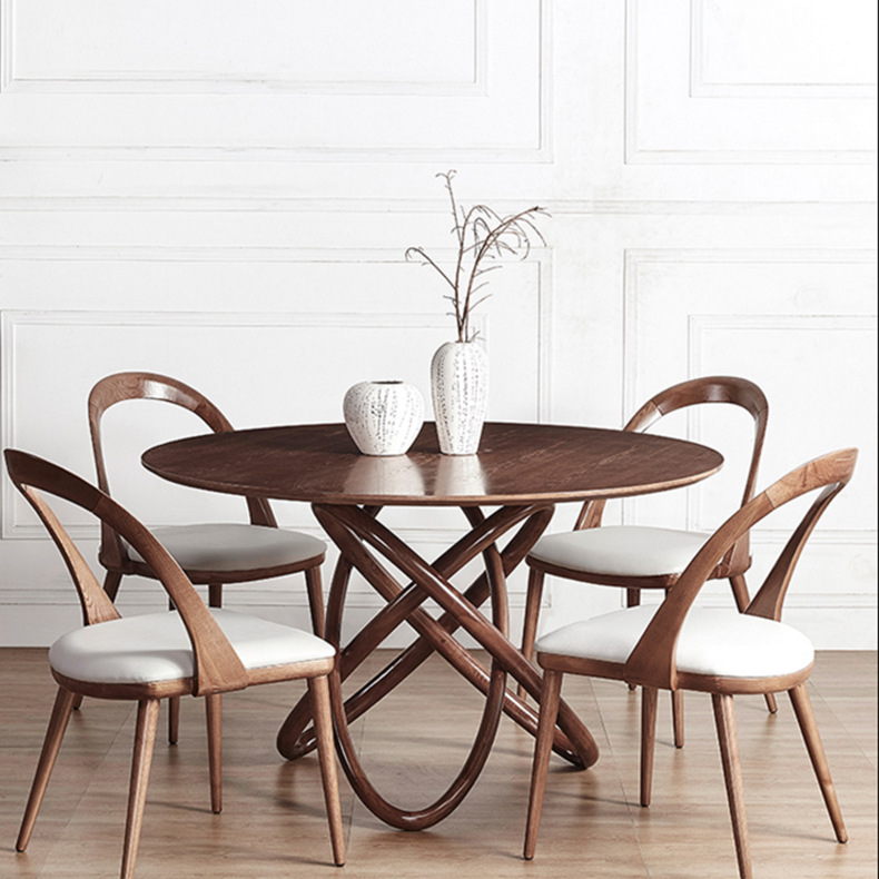 Cafe Furniture Sets solid wood coffee tables chairs sets 1 table+4 chairs minimalist modern desk round tea table sets 120*75cm Салфетницы