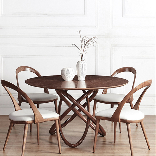 Round Table And Chairs Set Posture Chair Modern Cafe Furniture Sets Solid Wood Coffee Tables 1 4 Minimalist Desk Tea 120 75cm
