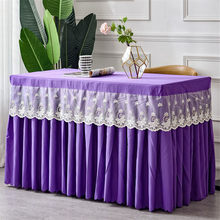 One Piece Solid Rectangle Hotel Table Skirt With Table Cover Table Cloth For Cocktail arty Meeting Conference Reception(China)