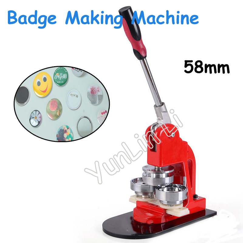 Tinplate Badge Making Machine 58mm Button Pin Maker Button Making Machinery Badge Press Breastpiece Making Machine 1 3 4 44mm 500sets plastic pin badge material blank button parts tin badge components