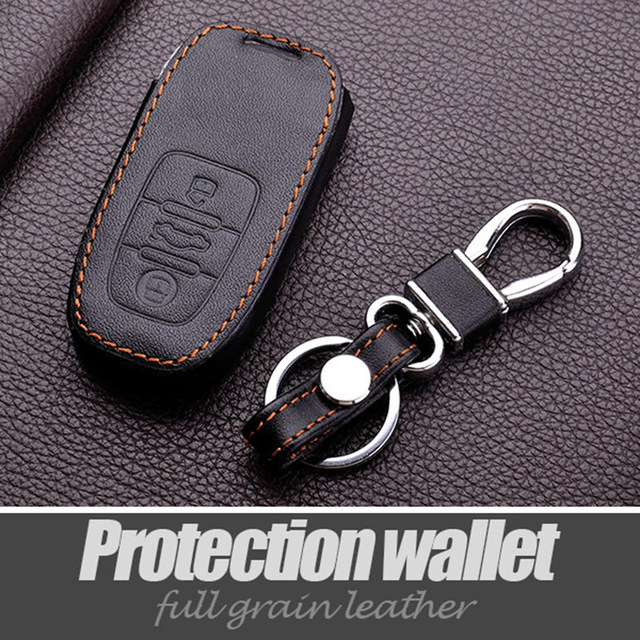 Leather Key Rings Covers For Audi A4 A5 A6 A7 A8 Q5 Q7 S5 S6 S7 S8 Sq5 Rs5 Smart Key Chain Holder Stickers Interior Accessories