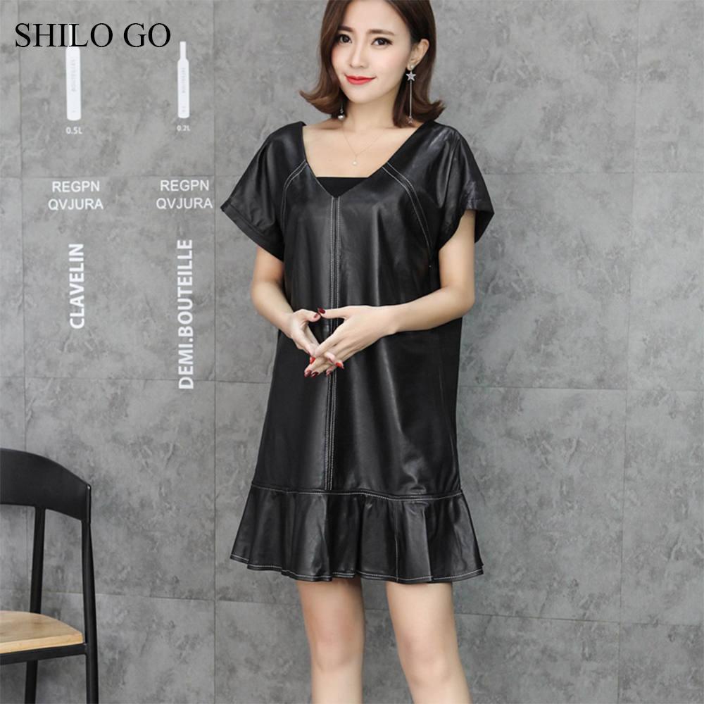 SHILO GO Leather Dress Womens Spring Fashion sheepskin genuine leather Dress V Neck flare sleeve causal loose patchwork trumpet