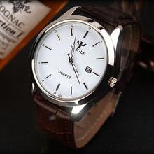 Yazole Hot Nova moda simples correia de couro relógios das mulheres dos homens do relógio à prova d' água calendário luminous quartz relógio de pulso reloj hombre