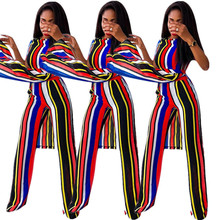 2019 New Best Selling Rainbow Stripe Print Summer Casual European And American Womens Two-piece Suit