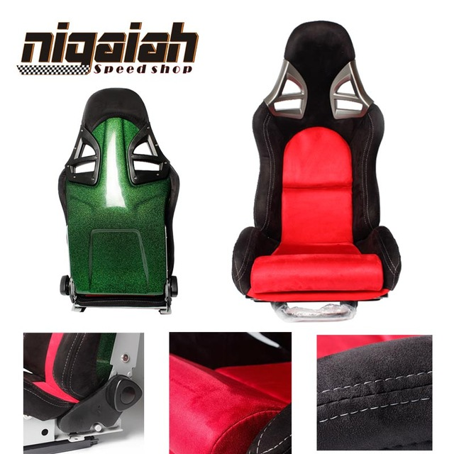 2PCS/LOT OEM SPE Adjustable & Reclinable Seat Black And Red Suede Sport Racing Car Seat For Porsche