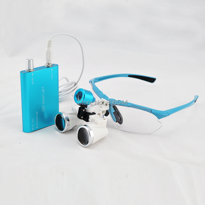 2014 New 3.5X320mm Blue Dentist Dental Surgical Medical Binocular Loupes + LED headlight lamp W+I