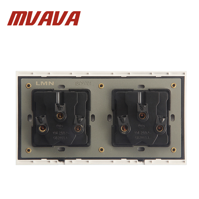 MVAVA Fire Proof Black PC Panel Double 5 Pins Wall Socket Electrical ...