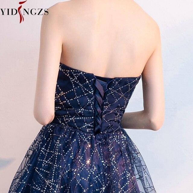 Short Evening Dress YIDINZGS Navy Blue Sequins Pleat V-neck Formal Evening Party Dress 6