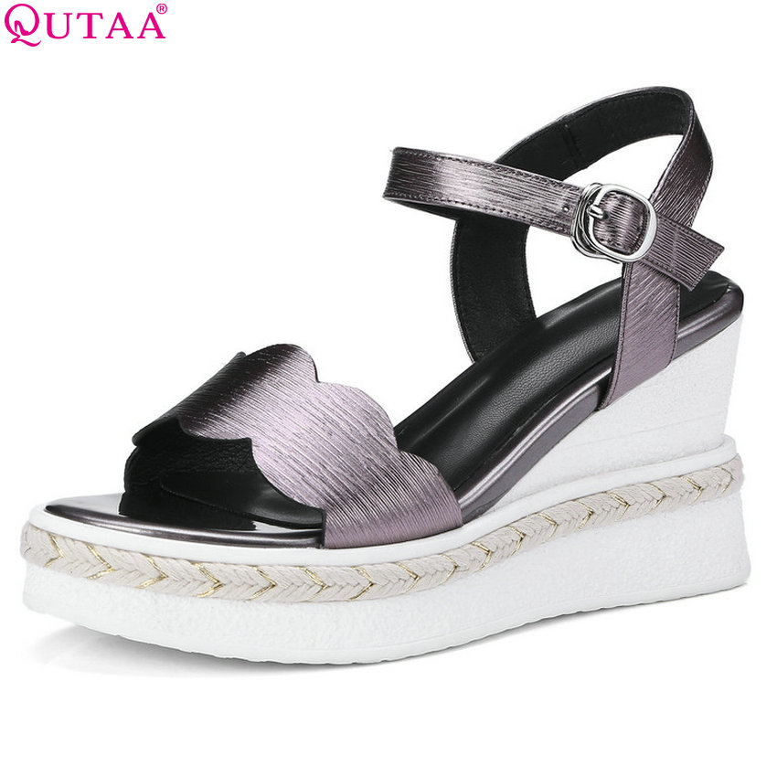 QUTAA 2018 Women Sandals Buckle Simple Women Shoes Platform Fashion Genuine Leather +pu Wedges Heel Women Sandals Size 34-42 anmairon shallow leisure striped sandals women flats shoes new big size34 43 pu free shipping fashion hot sale platform sandals