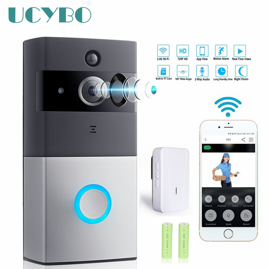 WIFI Video doorbell camera intercom system wireless home ip door bell phone chime w/ PIR 2 way audio iOS Android battery powered armband for iphone 6