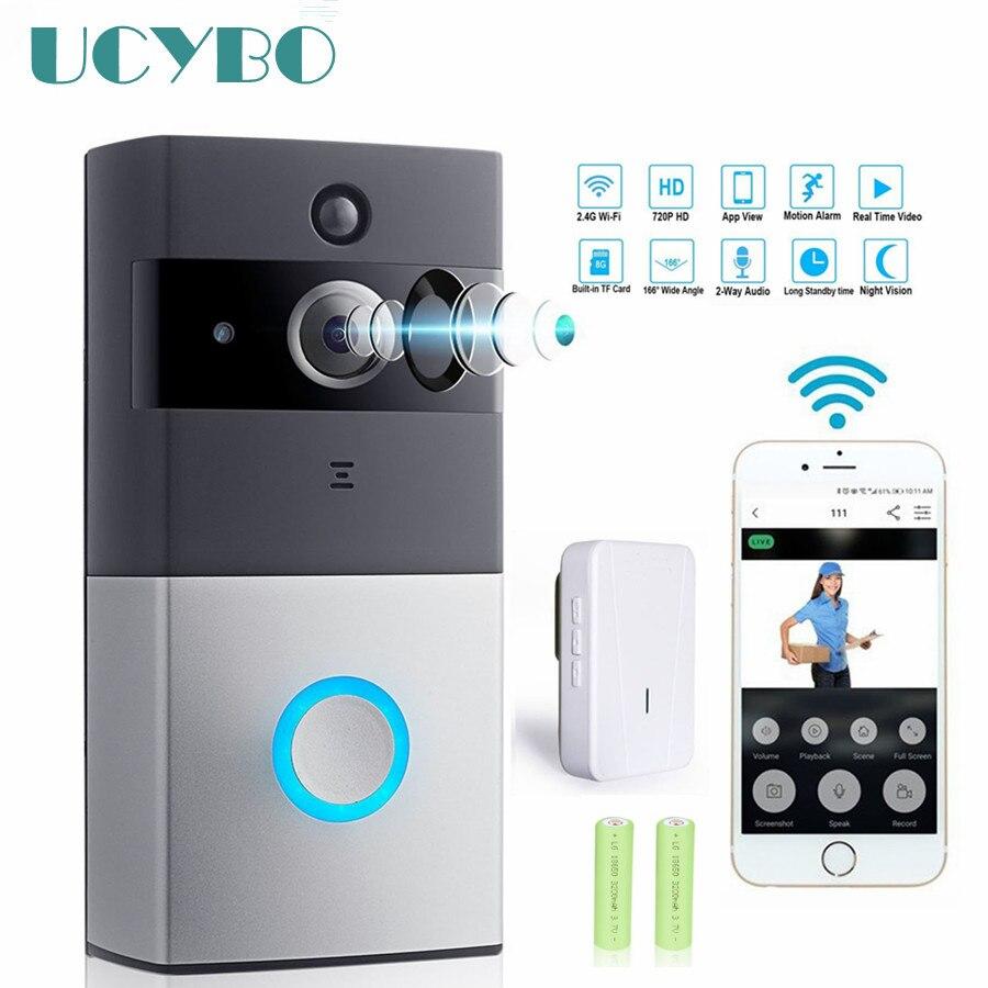WIFI Video doorbell sistema de intercomunicación cámara inalámbrica ip puerta Teléfono de bell chime w/PIR 2 audio iOS android batería