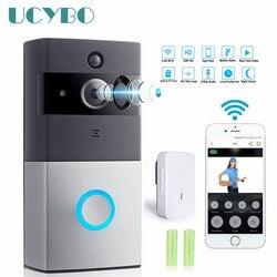 Wifi câmera de vídeo campainha intercom sistema sem fio em casa ip campainha da porta do telefone chime com pir 2 vias áudio ios android bateria alimentado