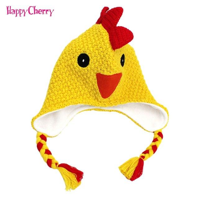 90f083d2887 Cute Yellow Smlie Chick Cap Warm Winter Baby Hat Crochet Beanie Knit Caps  Crest Infant Kids