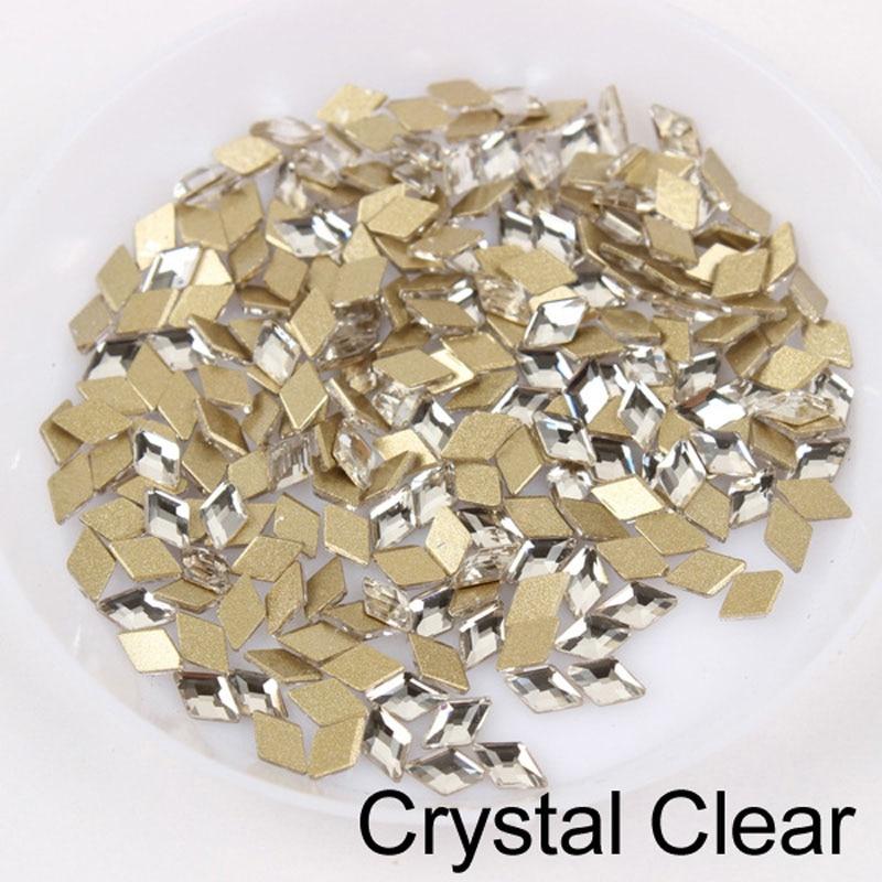 30/100 шт./лот ногтей Стразы 3x5 мм Flatback ромб с цветными камнями для 3D нейл-арта украшения - Цвет: Crystal Clear