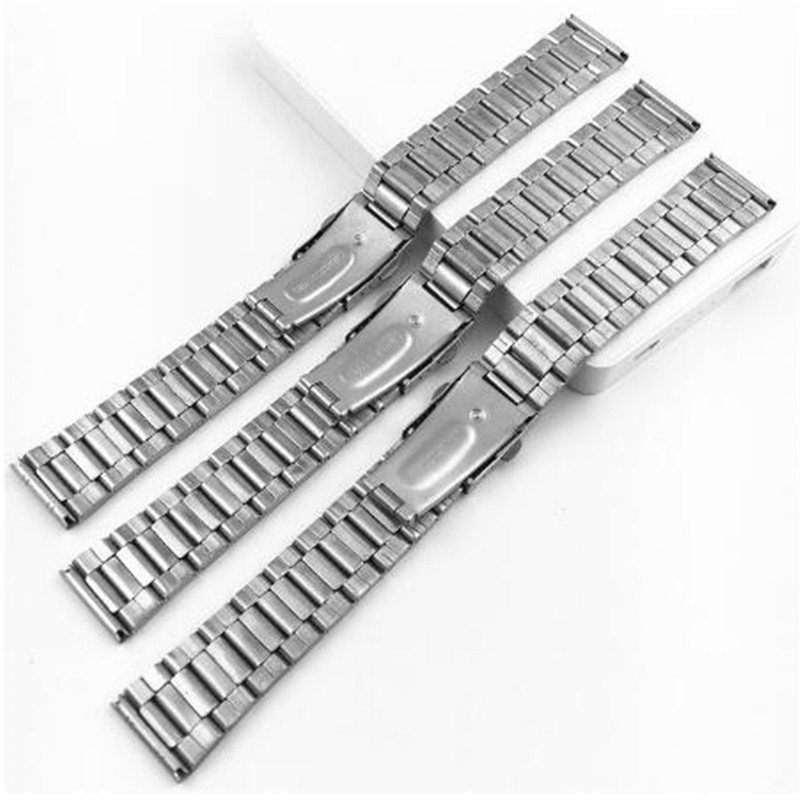 12/14/16/18/20/22mm Stainless Steel Watch Strap Wrist Bracelet Silver Color Metal Watchband With Folding Clasp For Men Women