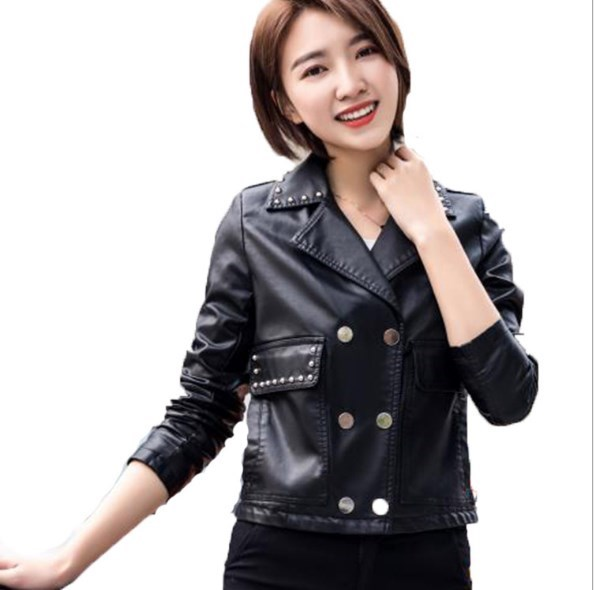 2018 Punk Style Women Black Short Faux Leather Jacket Female Motorcycle Biker Leather Jacket Slim Fit Coat With Rivet XXXL